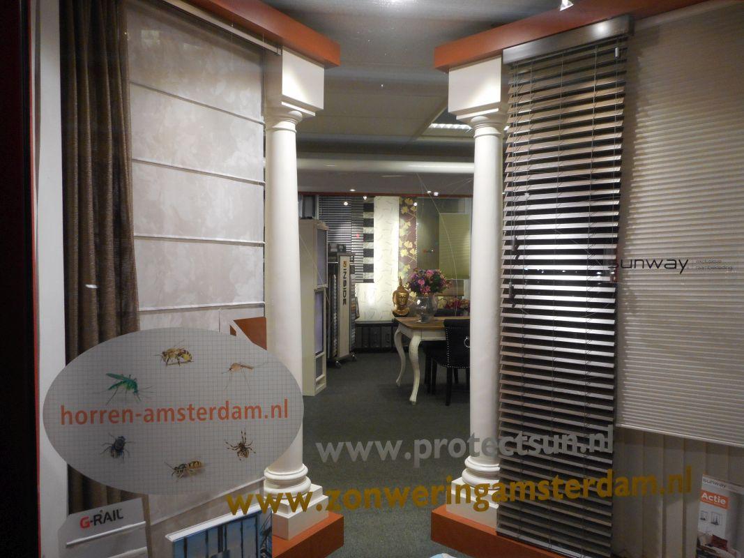 horren en jaloezie Sunway collectie in de showroom van Protectsun in Amsterdam west www.protectsun.nl